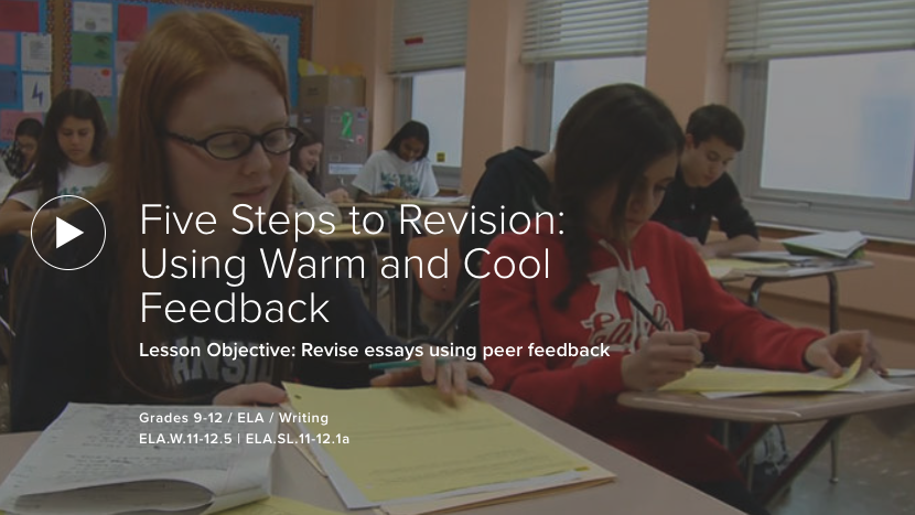 Five Steps to Revision: Using Warm and Cool Feedback